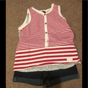 Pink and white striped shorts set! Excellent!